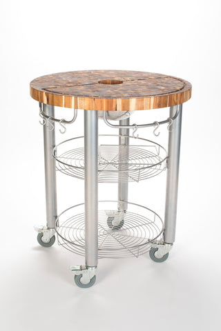 Chris & Chris Stainless Pro Stadium Round Kitchen Cart/Work Station - Your Kitchen Island - 1