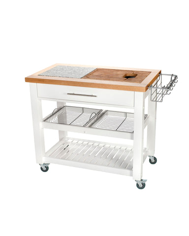 Chris & Chris White Pro Chef Series Kitchen Cart/Work Station JET3186 - Your Kitchen Island - 1