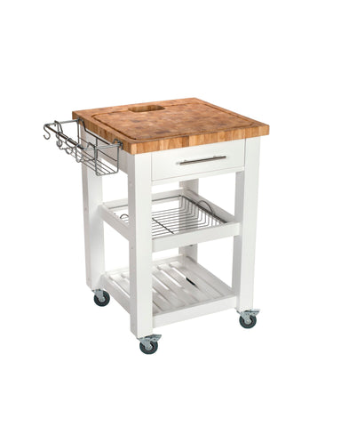 Chris & Chris White Pro Chef Series Kitchen Cart/Work Station JET3187 - Your Kitchen Island - 1