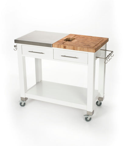 Chris & Chris White Pro Chef Work Station Kitchen Cart JET3189 - Your Kitchen Island - 1