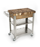 Chris & Chris Natural Stadium Work Station Kitchen Cart JET3191 - Your Kitchen Island - 1
