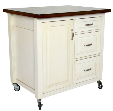 Sunset Trading Andrews Kitchen Cart Distressed White - Your Kitchen Island - 1
