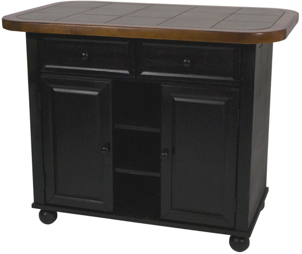 Sunset Trading Small Kitchen Island Antique Black - Tile Top - Your Kitchen Island - 1