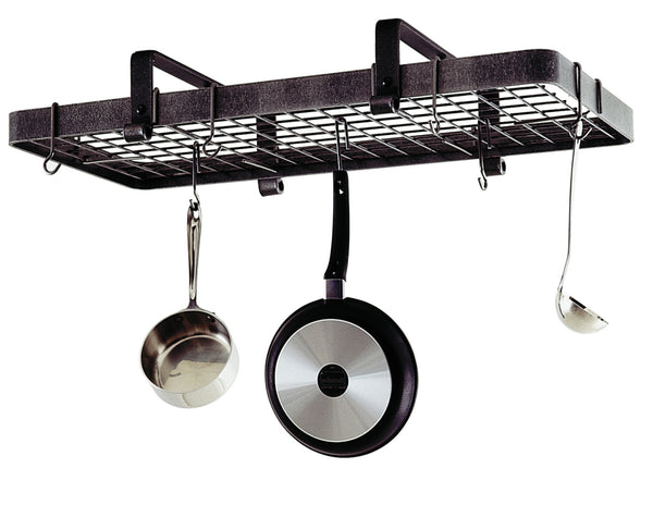 Enclume Low Ceiling Rectangle with Grid Pot Rack Hammered Steel PR13 - Your Kitchen Island