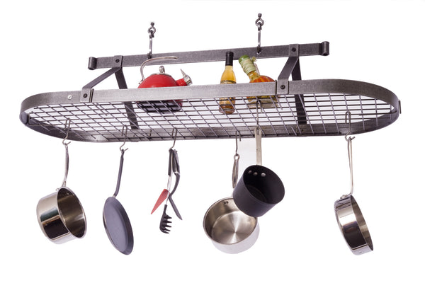 Enclume Oval Pot Rack with Grid Hammered Steel PR16 - Your Kitchen Island - 1