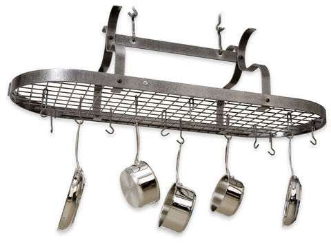 Enclume Arm Oval Pot Rack with Grid PR33 Hammered or Stainless Steel - Your Kitchen Island - 1