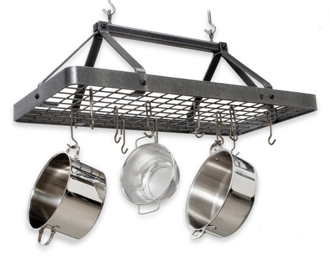 Enclume Carnival Rectangular Pot Rack Hammered Steel PR34 - Your Kitchen Island