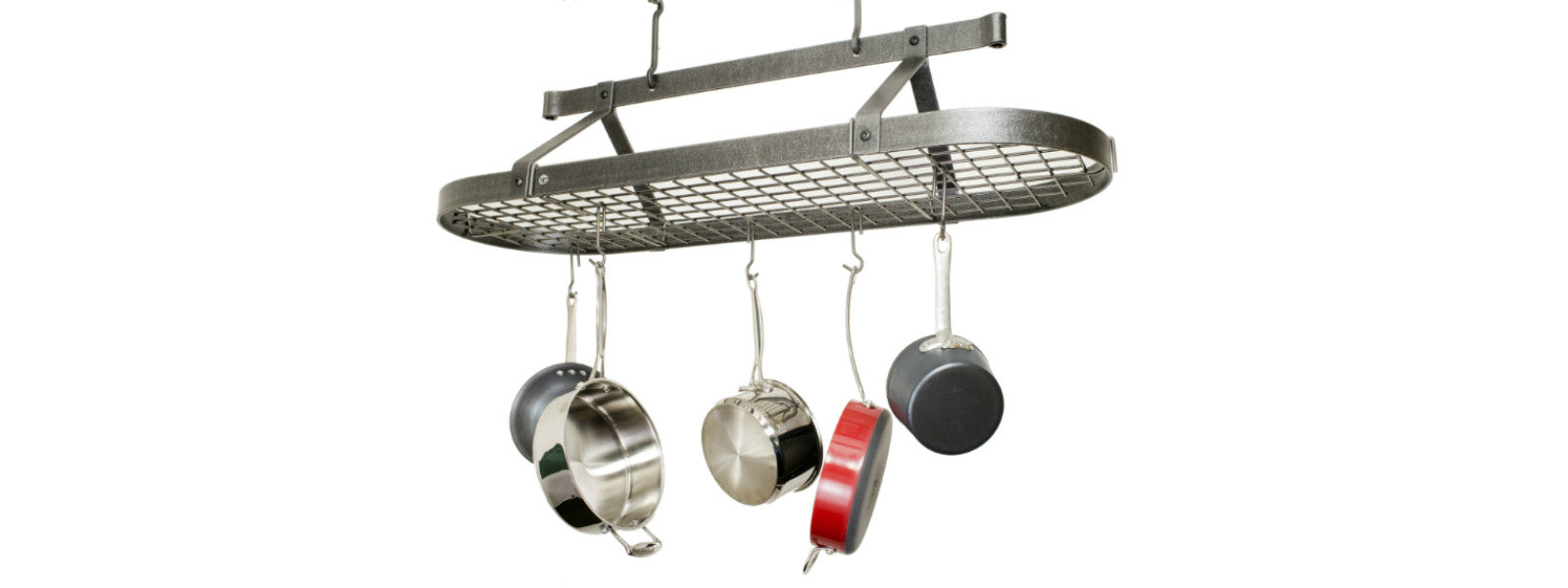 Enclume Four Foot oval Pot Rack with grid Hammered steel