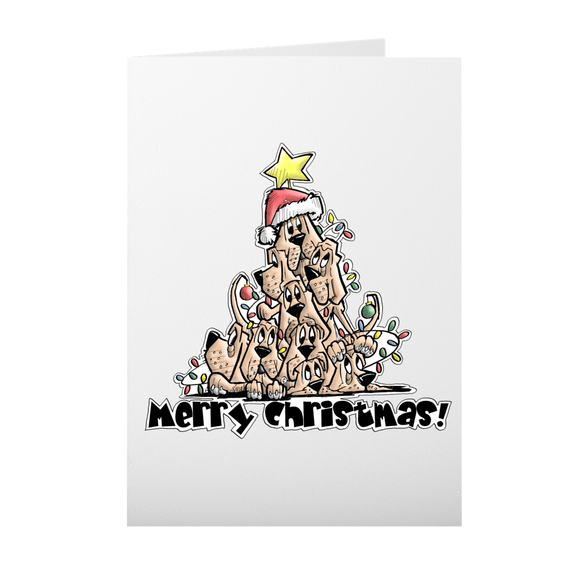 Merry Christmas Tree Hounds Folded Cards