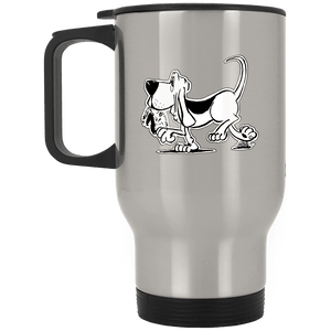 Retro Hound Silver Stainless Travel Mug - The Bloodhound Shop