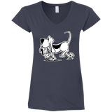 Retro Hound Gildan Ladies' Fitted Softstyle 4.5 oz V-Neck T-Shirt - The Bloodhound Shop