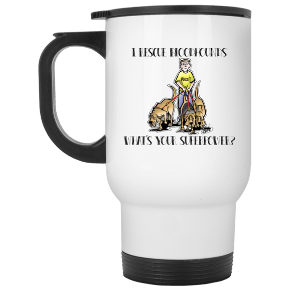 Superpower Howards Hounds White Travel Mug - The Bloodhound Shop