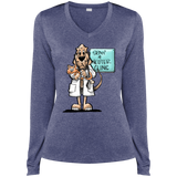 Veterinarian Hound Sport-Tek Ladies' LS Heather Dri-Fit V-Neck T-Shirt - The Bloodhound Shop