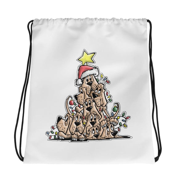 Christmas Tree Hounds Drawstring bag - The Bloodhound Shop