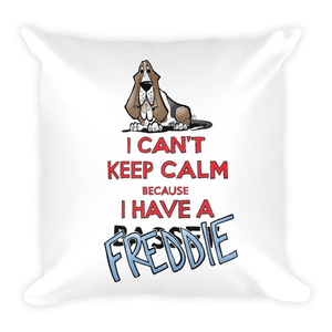 Tim's Keep Calm Freddie Square Pillow