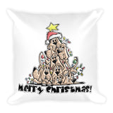 Merry Christmas Tree Hounds Basic Pillow - The Bloodhound Shop