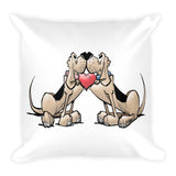 Hound Love (Two Blk/Tan Hounds) Square Pillow - The Bloodhound Shop