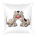 Hound Love (Red and Black Hounds) Square Pillow - The Bloodhound Shop