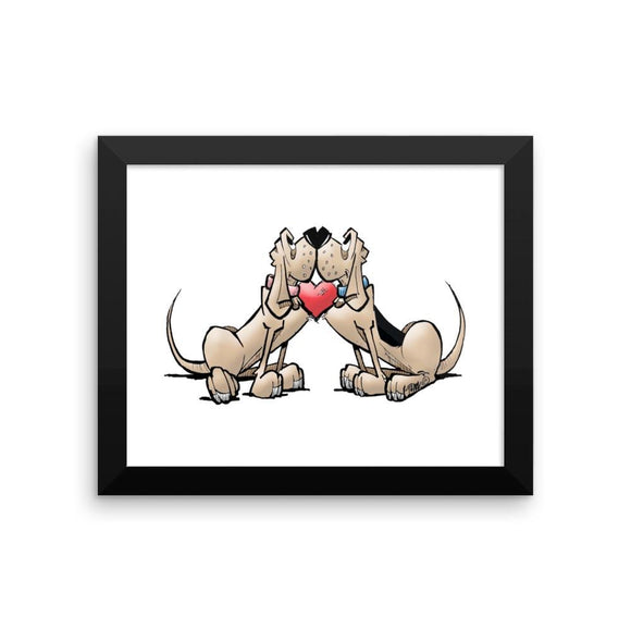 Hound Love (Red and Black Hounds) Framed poster - The Bloodhound Shop