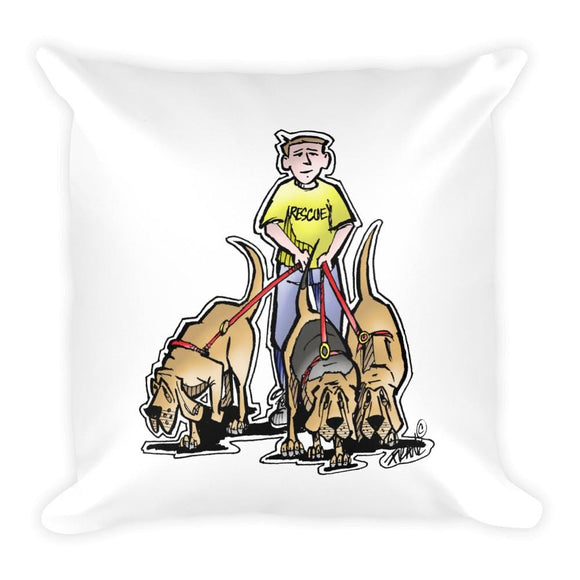 Three Rescue Hounds Square Pillow - The Bloodhound Shop