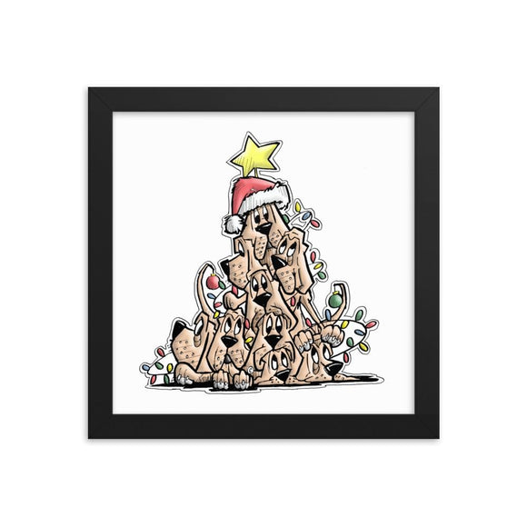 Christmas Tree Hounds Framed poster - The Bloodhound Shop
