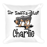 Charlie Sir Sniffs A Lot Square Pillow - The Bloodhound Shop