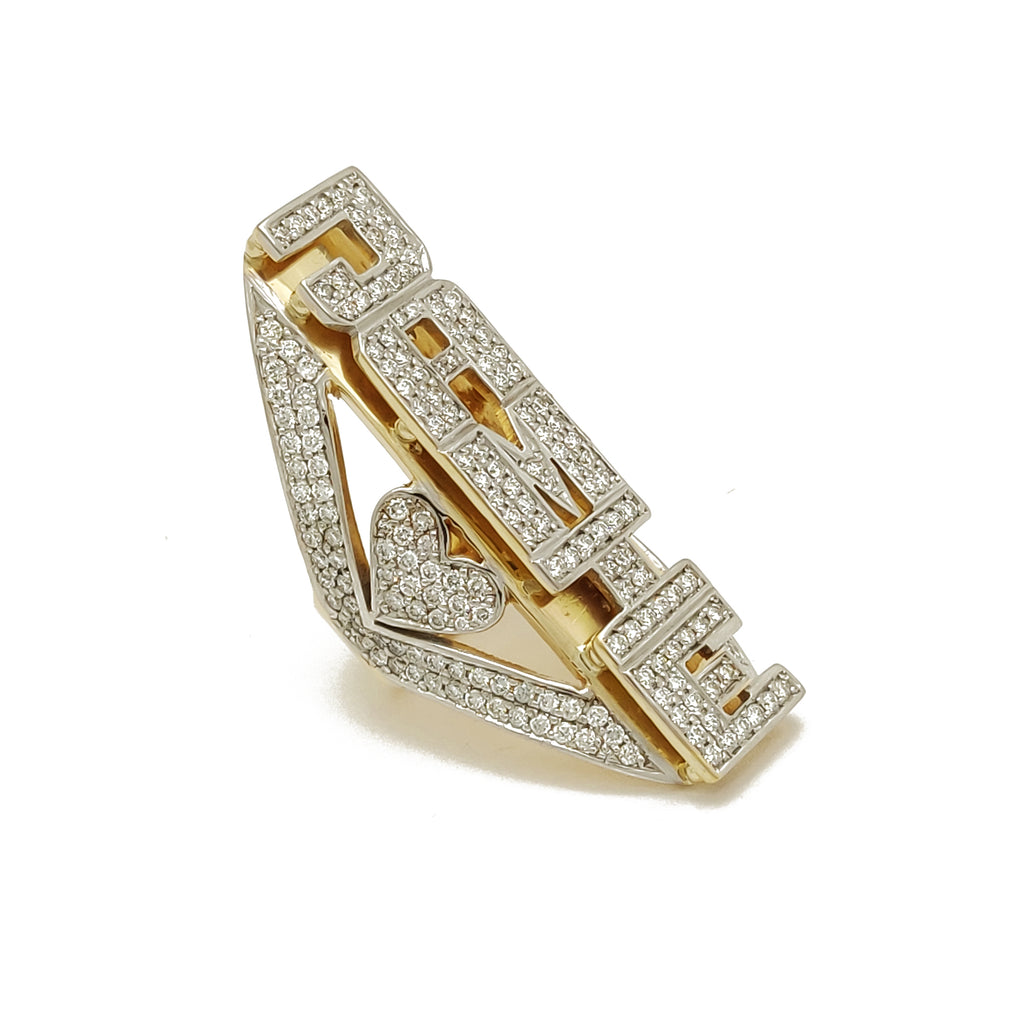 Custom Made Ring Name 14 Karat Yellow Gold Gold Gold Diamond Made By Popular Jewelry New York