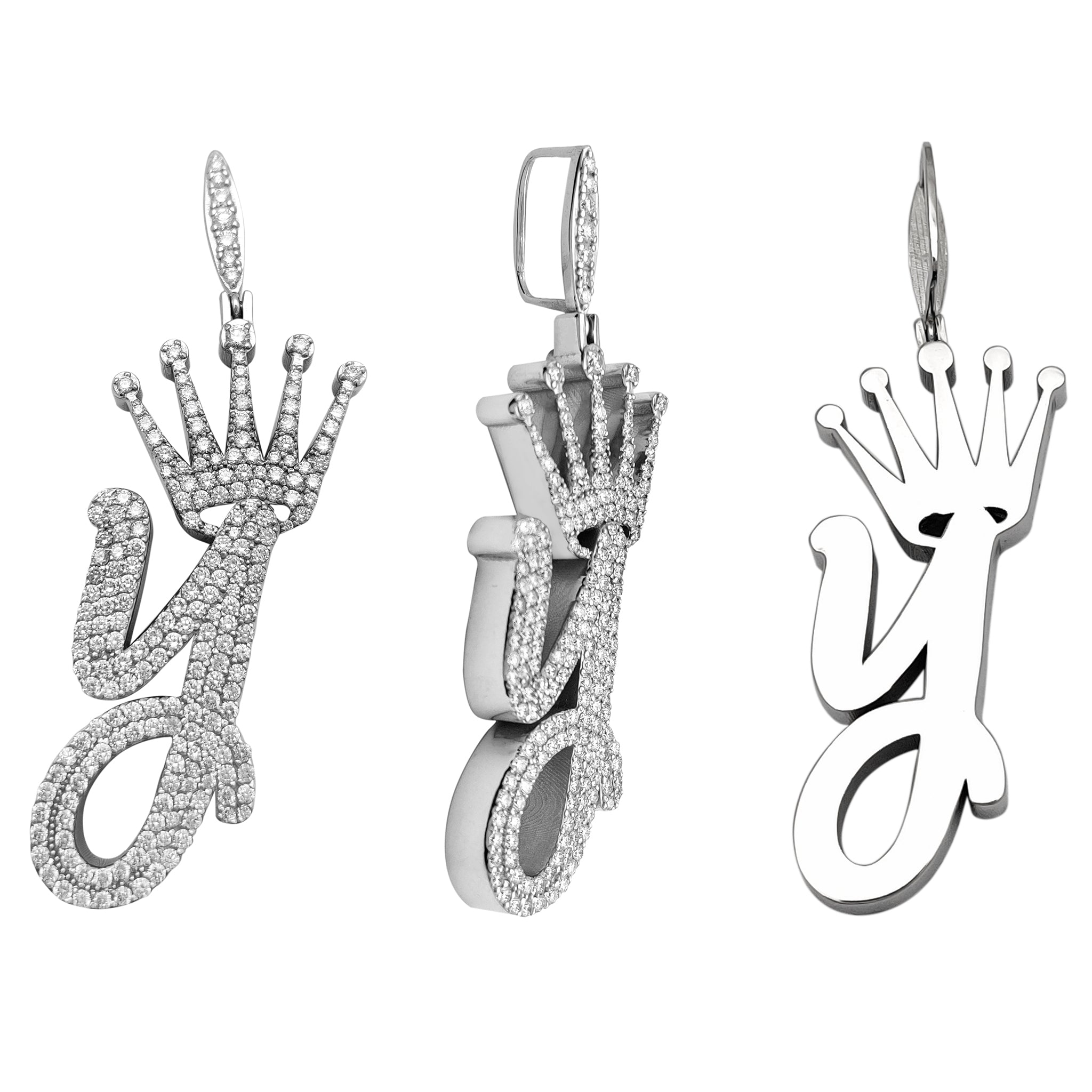 "Omenala Diamond Crowned Letter ""Y"" Pendant"