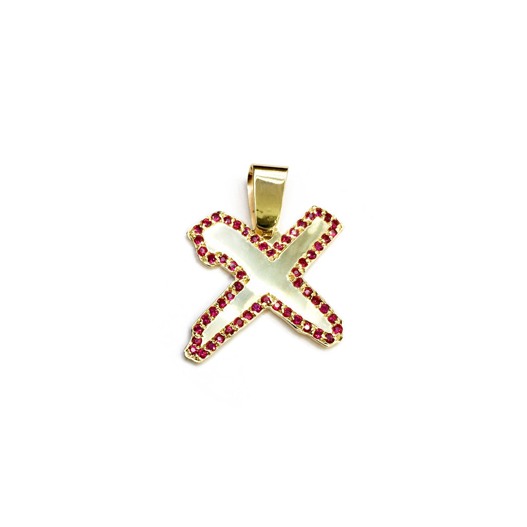 Бажы Made Cross Figure Ruby Кулон 3.6 г CIA 57 ээрчүү 14 Карат Yellow Голд Made Popular Jewelry New York
