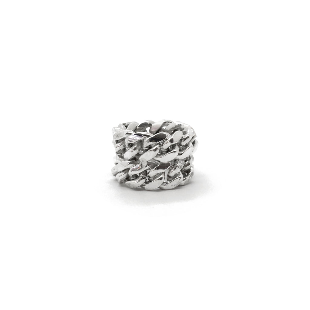 Silver Made Double Miami Cuban Link Ring 925 Sterling Silver ساخته شده توسط Popular Jewelry نیویورک