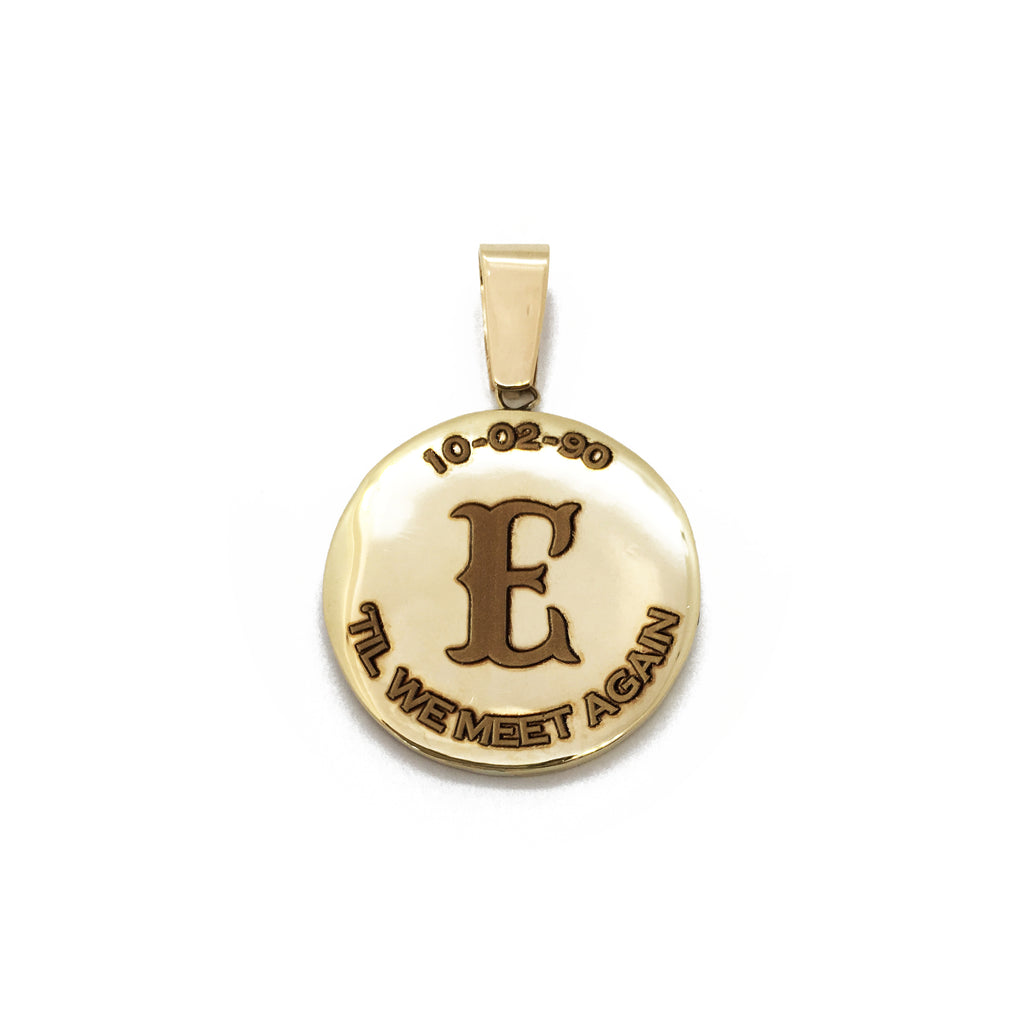 Incisione Laser Customized '10 -02-90 E Til We Meet Again 'per Memorial Pendant 14 Karat Gold Yellow made by Popular Jewelry New York