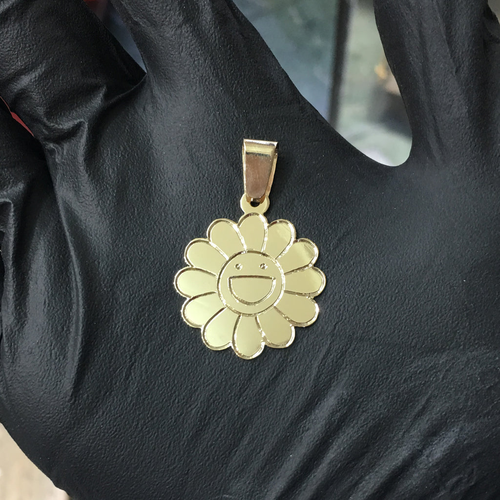 Custom Made Murakami Pendant Bunga 585 14 Karat Yellow Gold dibuat oleh Popular Jewelry New York