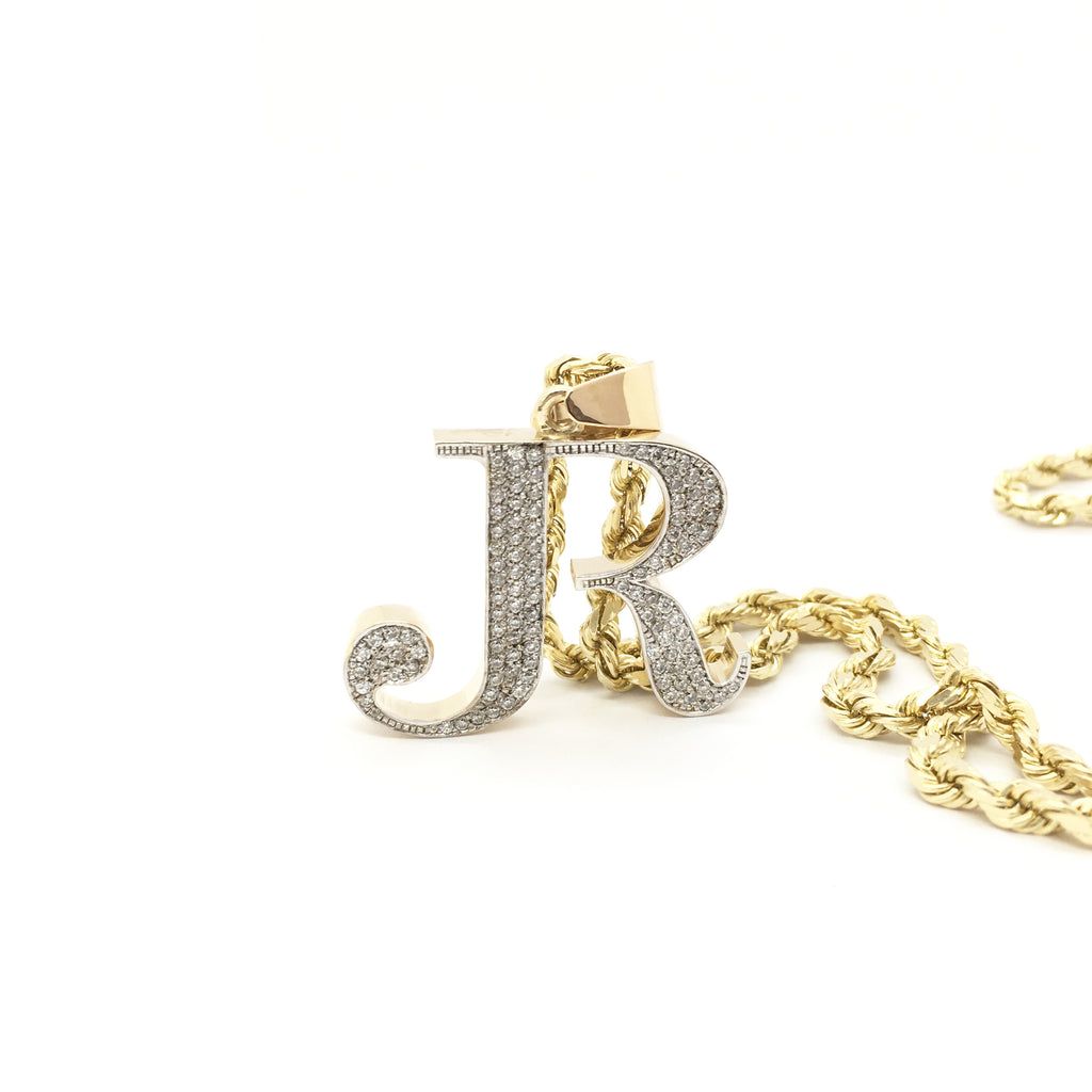 салт менен Script Letter R кубометр Часы Iced Кулон 14 караттык сары алтын жасады Popular Jewelry New York