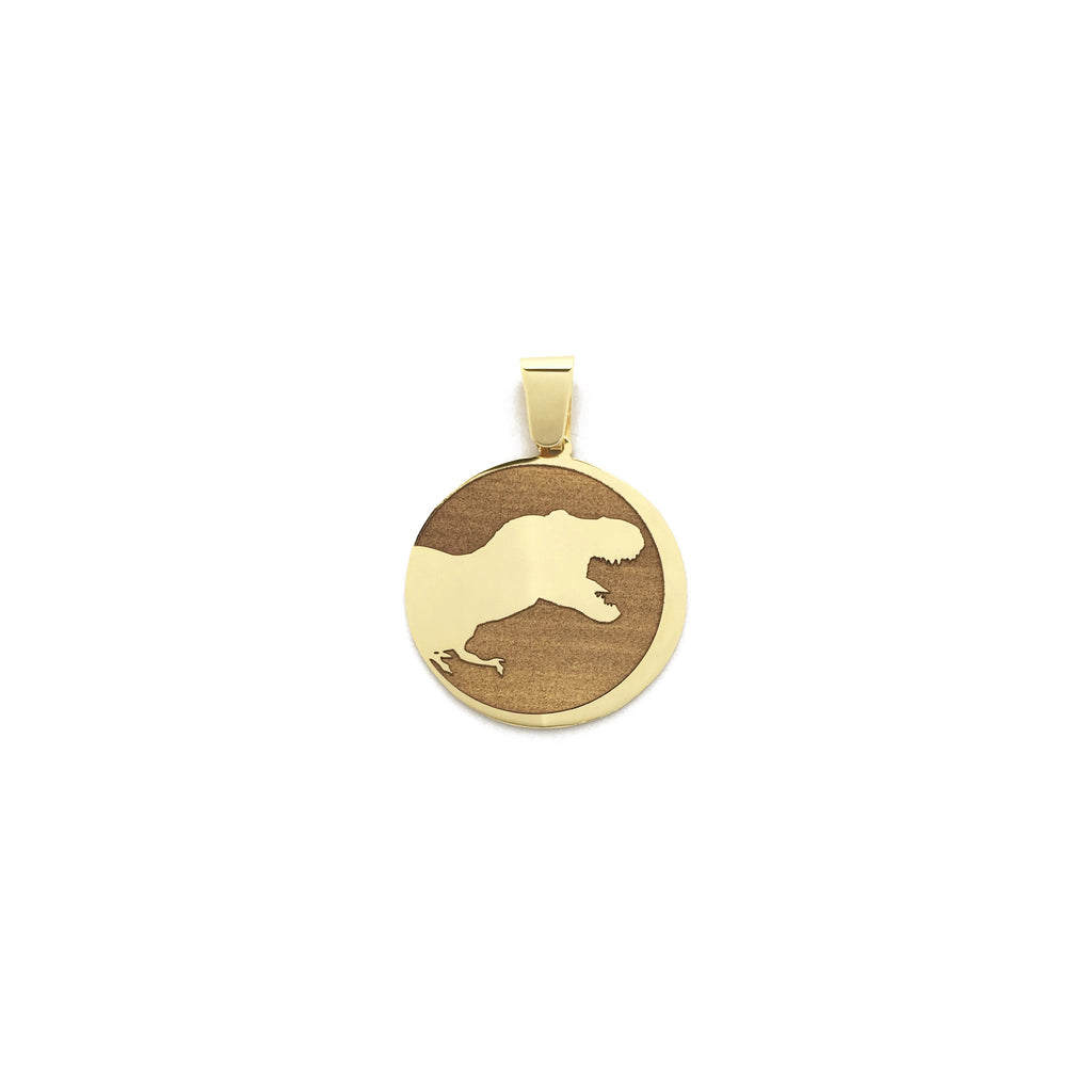 Көнүмүш Made T-Rex Dinosaur Medallion Кулон 14 Карат Yellow Голд Made менен Popular Jewelry New York