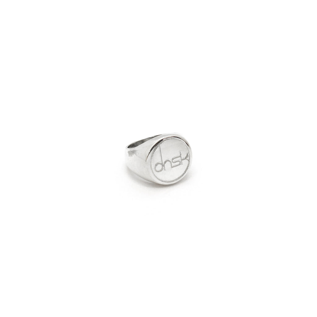 Custom Made dnsk Laser Engraved Signet Ring 925 Sterling Silver dibuat oleh Popular Jewelry New York