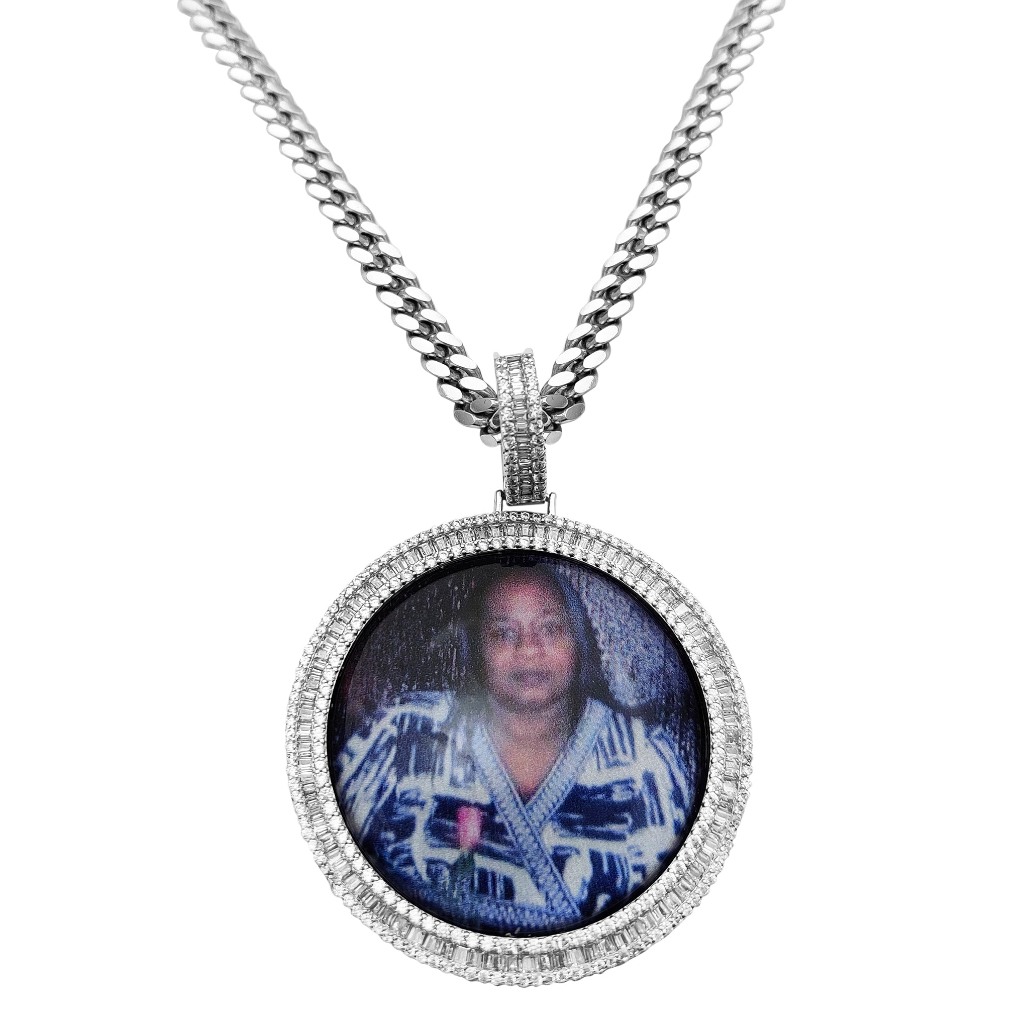 Custom Silver Memorial Picture Medallion Necklace