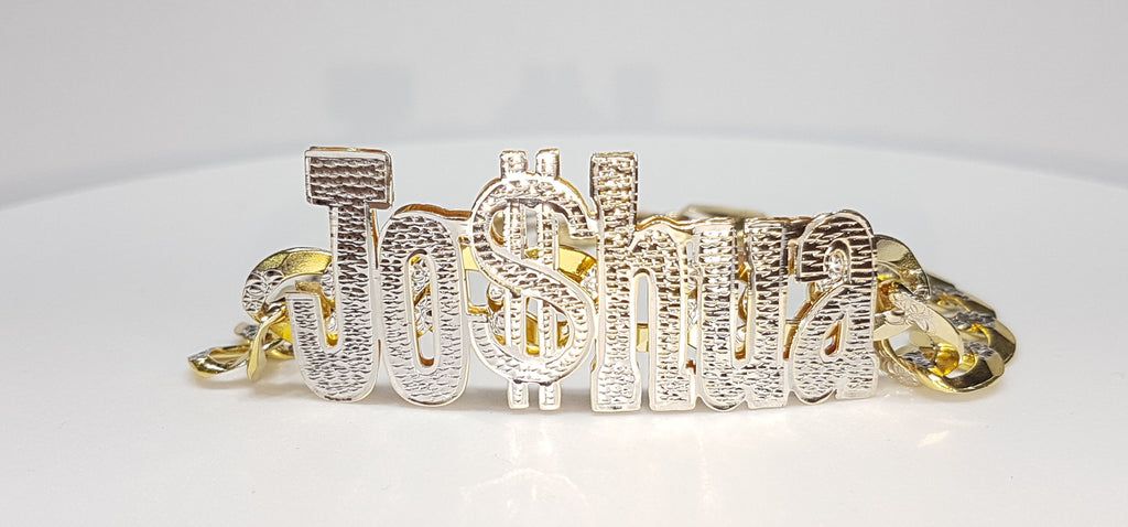 In the center: a custom double layer name plate bracelet made for Joshua stylized as Jo$hua in 14 karat yellow gold with white bead work finish on top with an Italian style two tone cuban link bracelet threaded through - Popular Jewelry