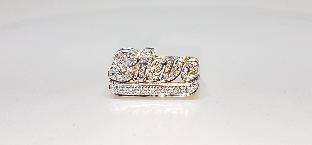 Custom made double layer name ring for Steve in 14 karat yellow gold pave set with diamonds and white rhodium bead work - Popular Jewelry