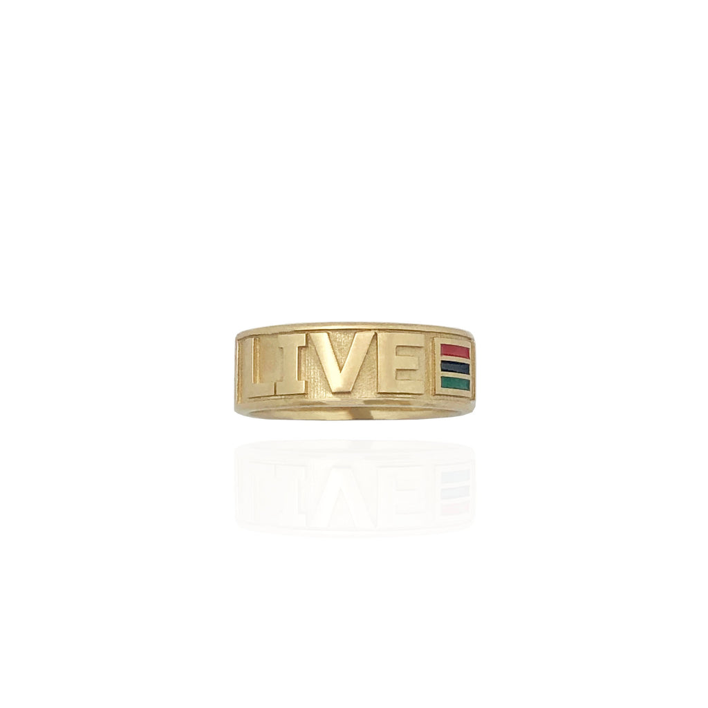 Yellow Gold Live & Free Special Make Ring (14K)