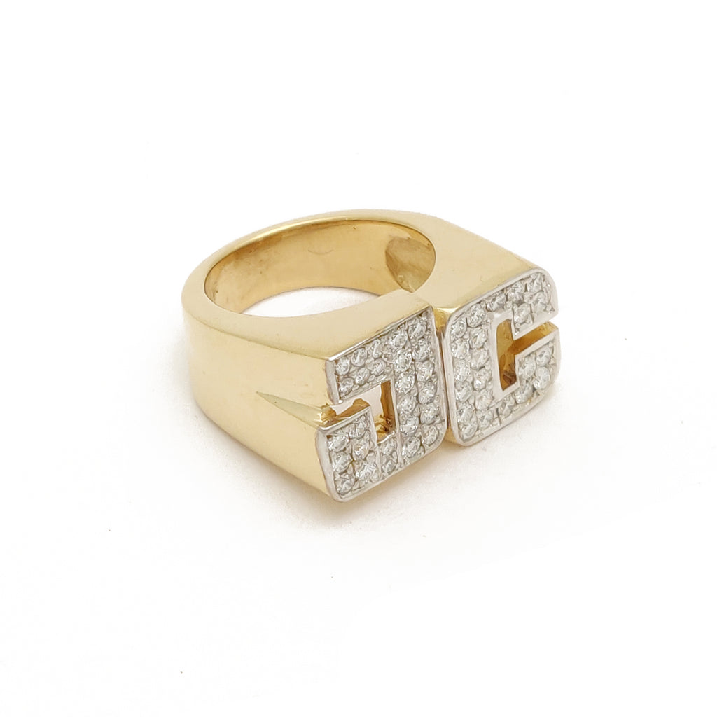 "Anillo de ouro ""JC"" da letra a medida 14 quilates, ouro amarelo, ouro branco, dous tons, diamante Mady By Popular Jewelry"