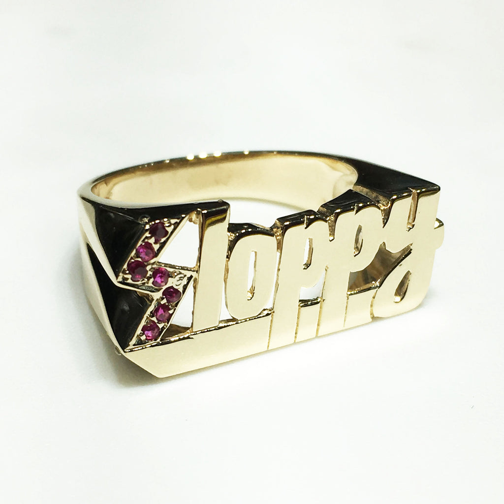 "14K gold and ruby ""Sloppy"" ring made for our friend Darren"