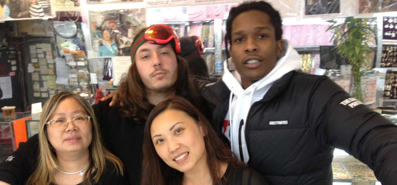 A$AP Rocky and A$AP Lou - ASAP Rocky and ASAP Lou from ASAP Mob posing with Eva and Yina at Popular Jewelry