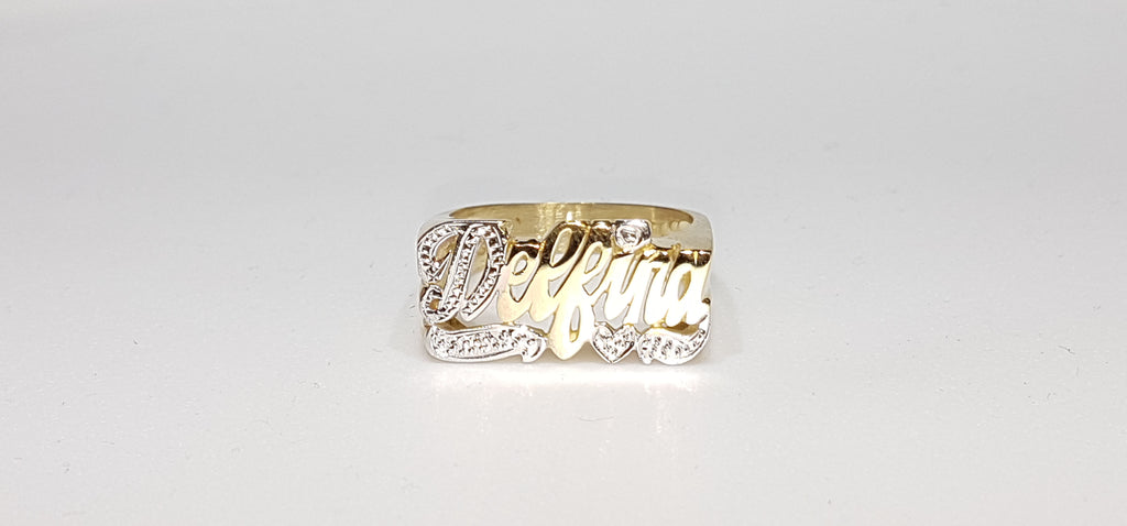 custom made name ring for Delfina in 14 karat yellow gold and two tone high polish white bead work finish - Popular Jewelry