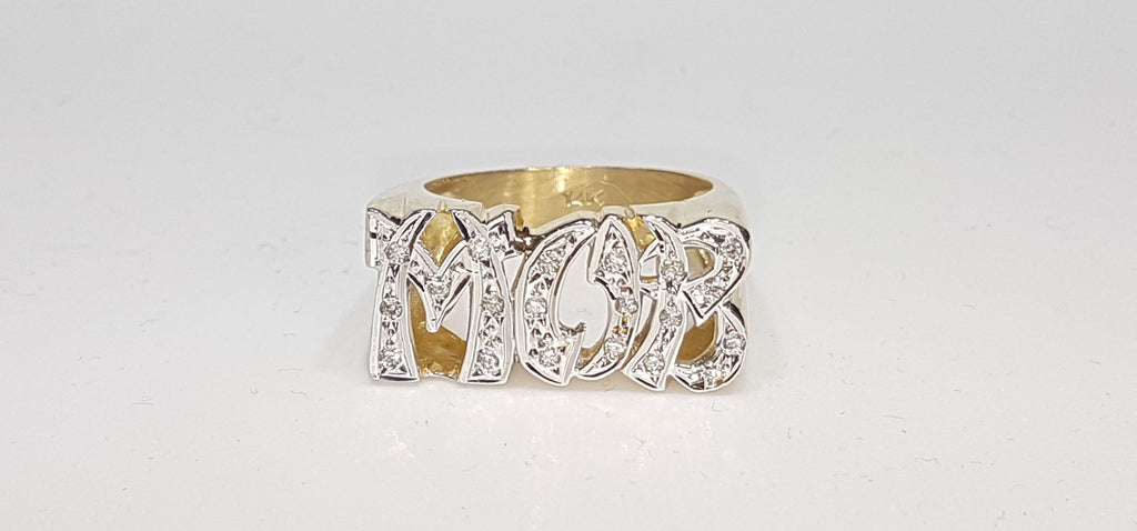 Center: Custom made Mob name ring in 14 karat yellow gold with white cut finish and set with diamonds - Popular Jewelry