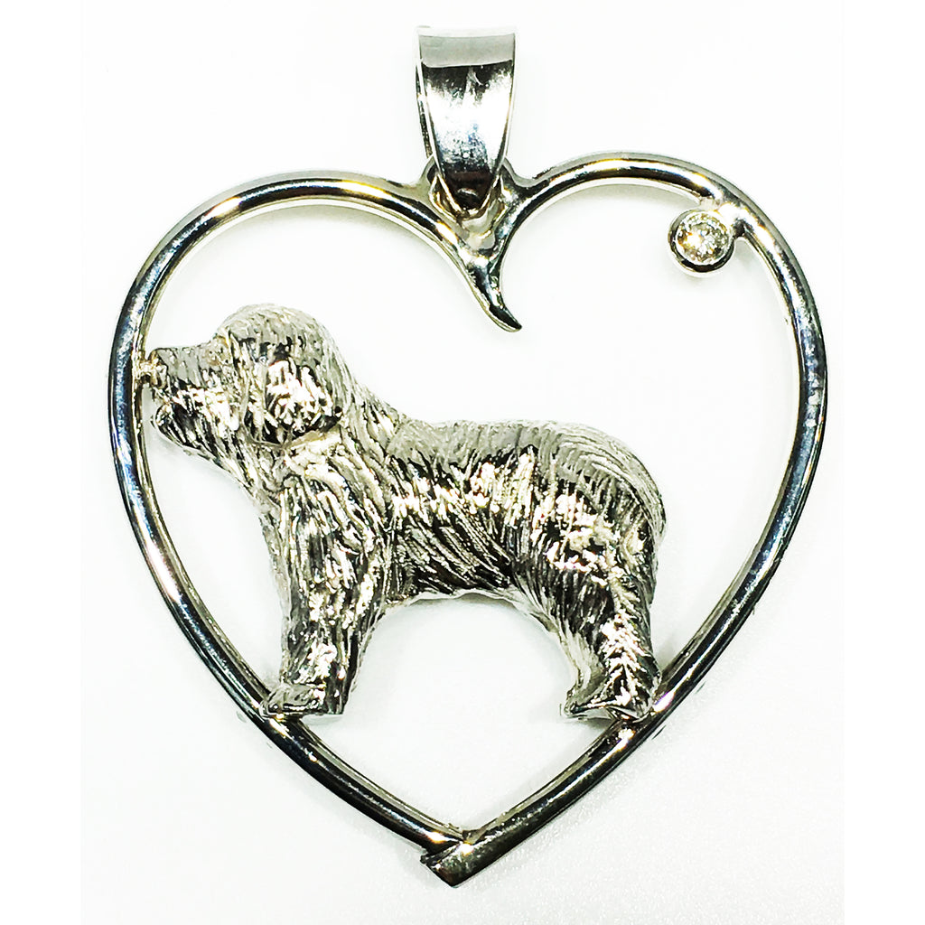14K white gold and diamond encapsulated newfoundland heart pendant for our friend Josh Asadow and his mother Gail.