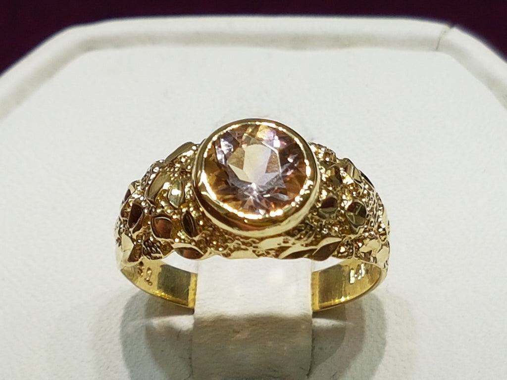 Ametrine-round-cut-14 carati in oro-nugget-style-ring