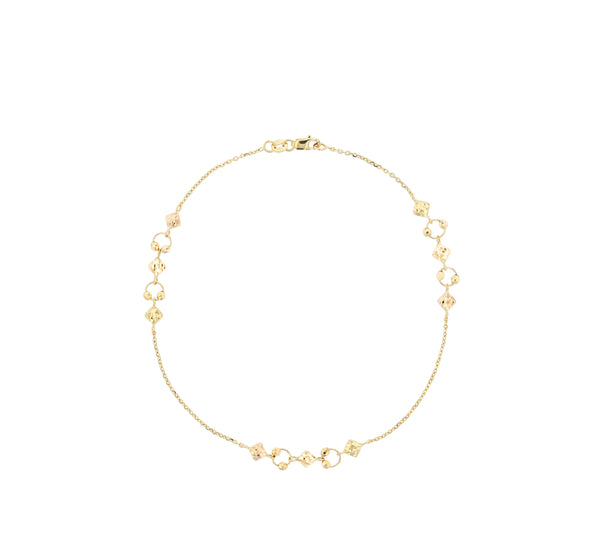 Cable-Link Dainty Charm Accent Anklet (14K)