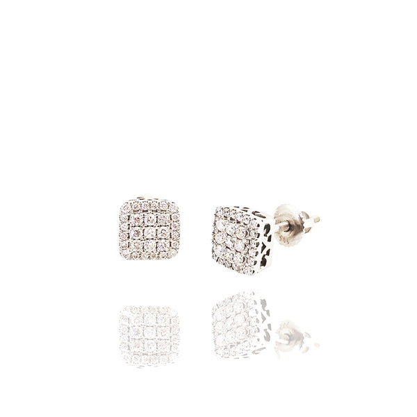 Rounded Square Diamond Stud Earrings (14K)