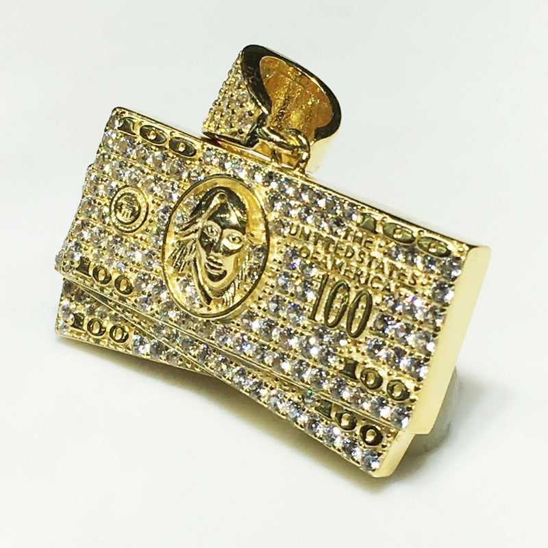 Iced-Out Hundred Dollar ($100) Bill Stack Pendant (Silver) - Popular Jewelry
