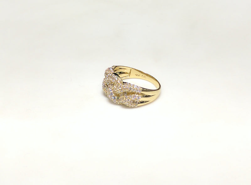 "Iced Out ""Challah"" Braid Ring 10K"